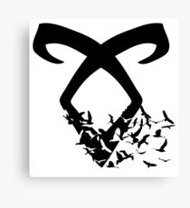 Black Angelic Rune (Birds)  Canvas Print