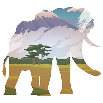 Colorful Elephant Nature Scene with Beautiful Mountain View by mellow-threads