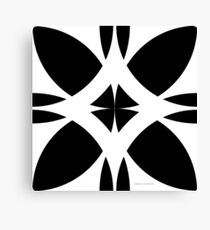 Abstract Flower Diamond - Black & White Canvas Print