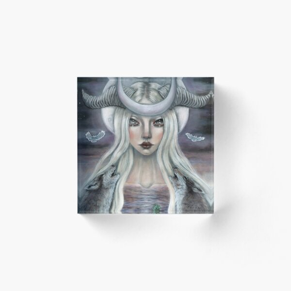 The Moon Tarot Card  Acrylic Block