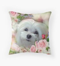 Snowdrop the Maltese - The Face that Melts my Heart Throw Pillow