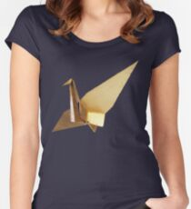 Gold Crane Japanese Women's Fitted Scoop T-Shirt