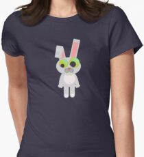 Cute Funny Cartoon Silly Confused Sweet Rabbit  Character Doodle Animal Drawing  Womens Fitted T-Shirt
