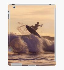 Sunset Surfer in the waves iPad Case/Skin