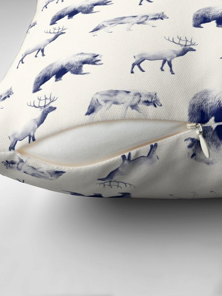 Alternate view of Wild Pattern // Blue Throw Pillow