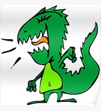 Cute Funny Cartoon Silly Green Dino Monster Character Doodle Animal Drawing  Poster