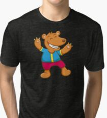 Cute Funny Cartoon Silly Teddy Bear Character Doodle Animal Drawing  Tri-blend T-Shirt
