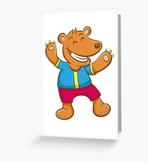 Cute Funny Cartoon Silly Teddy Bear Character Doodle Animal Drawing  Greeting Card