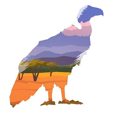 Vulture Double Exposed to Colorful Nature View by mellow-threads