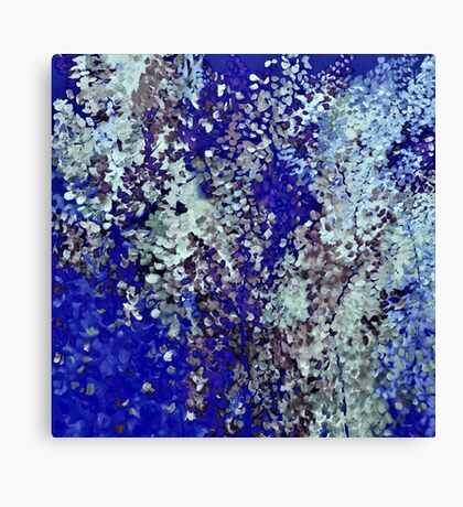 Blue, Brown, and Beige Leaves in Flight Canvas Print
