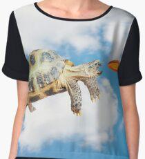 Funny Frisbee Catching Turtle Women's Chiffon Top