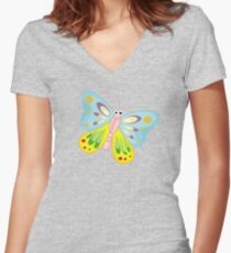 Cute Funny Cartoon Flying Colorful Butterfly  Character Doodle Animal Drawing Women's Fitted V-Neck T-Shirt