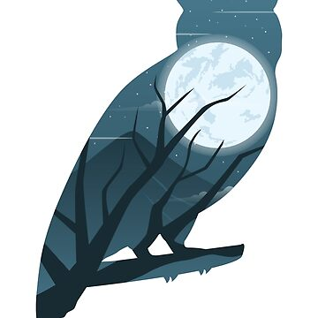Owl and the Moon : Beautiful Nature Scene by mellow-threads