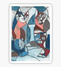 4 crazy cats cubist painting print drawing best gift Sticker