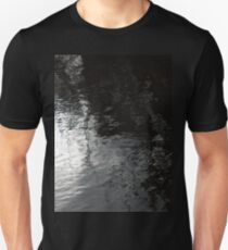Spring sky reflected in dark river water Unisex T-Shirt