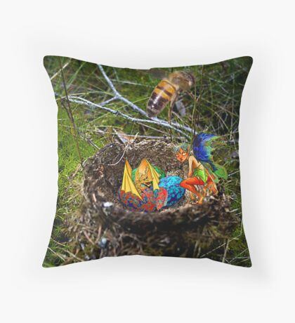 The Hatchling caught the Train Throw Pillow
