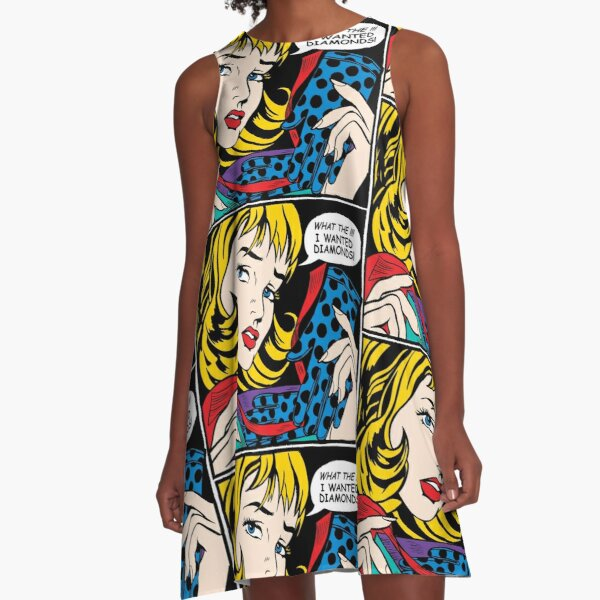 Pop Art - 'What the !!! I wanted Diamonds' A-Line Dress