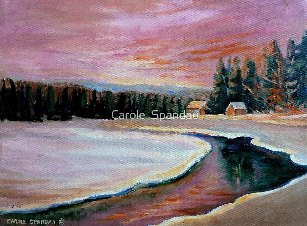CABIN RETREAT CANADIAN ART PAINTINGS BEST SELLING WINTER SCENE BY CANANDAIN ARTIST CAROLE SPANDAU By