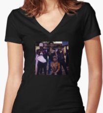 X, $ki, Purp, Pump + white guy? Women's Fitted V-Neck T-Shirt