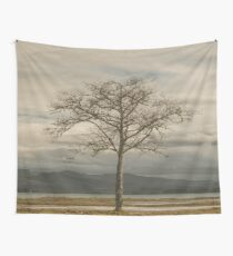 Lone Tree - landscape photography tree trees sky blue gray grass ocean adventure hiking love digital Wall Tapestry