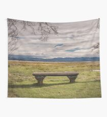 Empty Bench - landscape photography nature grass trees sky blue green love vintage story Wall Tapestry