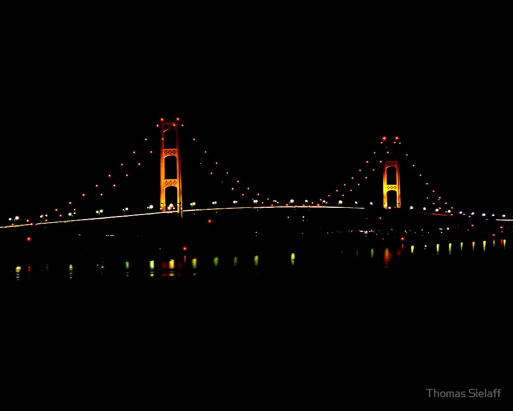 Mackinac Bridge at Night by Thomas Sielaff