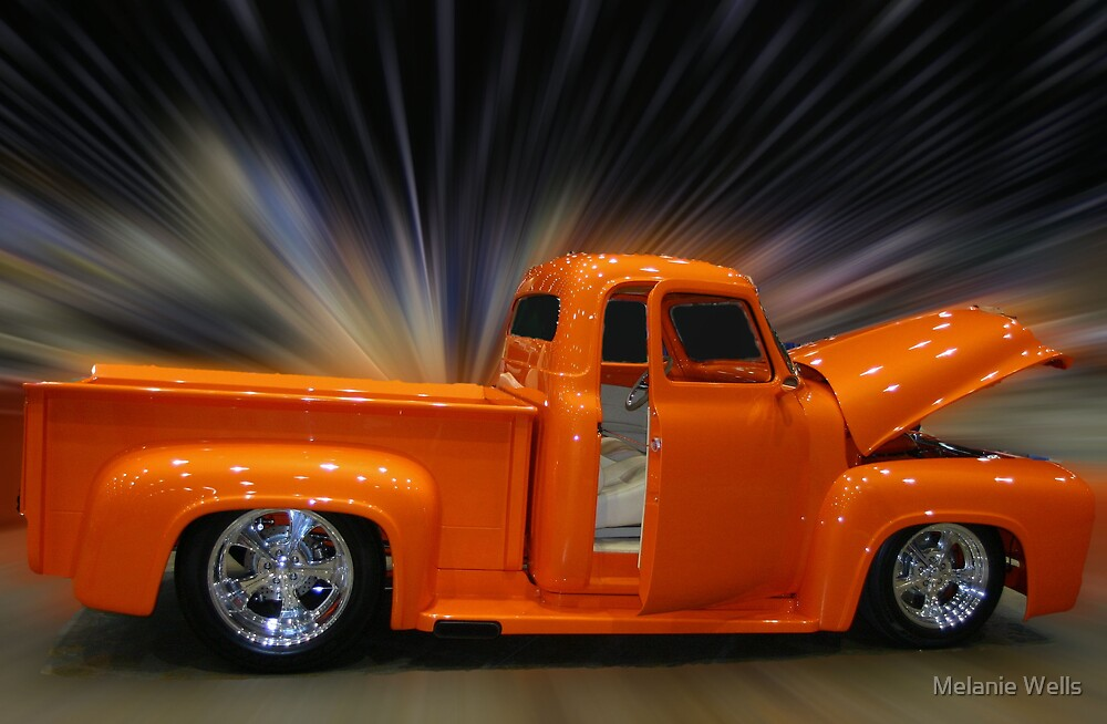 Orange Chevy With Speed by Melanie Wells