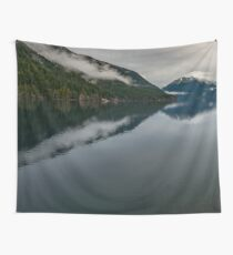 Snow Fog Mountain Olympic National Park foggy forest trees love water blue lake wild travel sky 4 Wall Tapestry