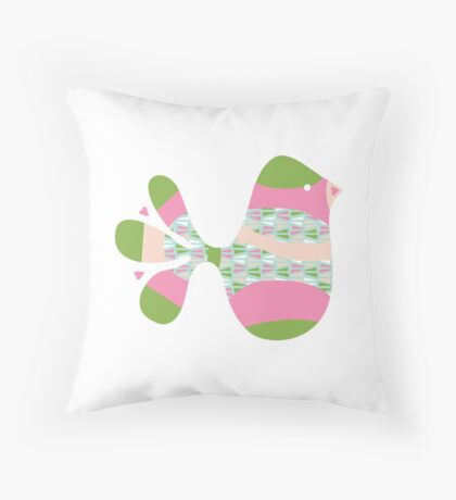 Preppy Pink Green Bird Throw Pillow