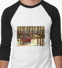 VERMONT SUGAR SHACK BEAUTIFUL WINTER LANDSCAPE  Men's Baseball ¾ T-Shirt