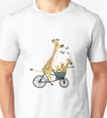 Cycling Giraffes Unisex T-Shirt