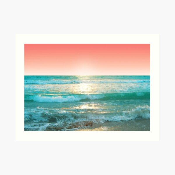 Aqua and Coral, 1 Art Print