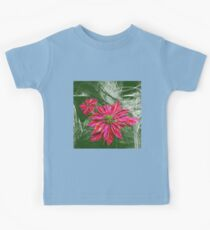 Abstract vibrant red poinsettia on green texture Kids Tee