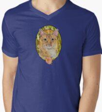 Abyssinian cat and Rose Men's V-Neck T-Shirt