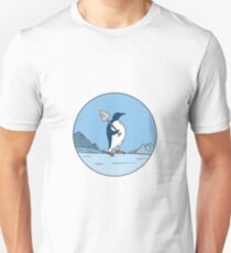 Emperor Penguin Shovel Antartica Circle Mono Line Unisex T-Shirt