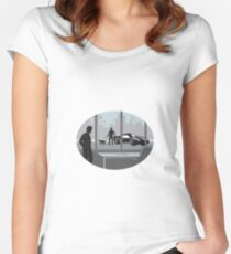 Office Worker Looking Through Window Oval Woodcut Women's Fitted Scoop T-Shirt