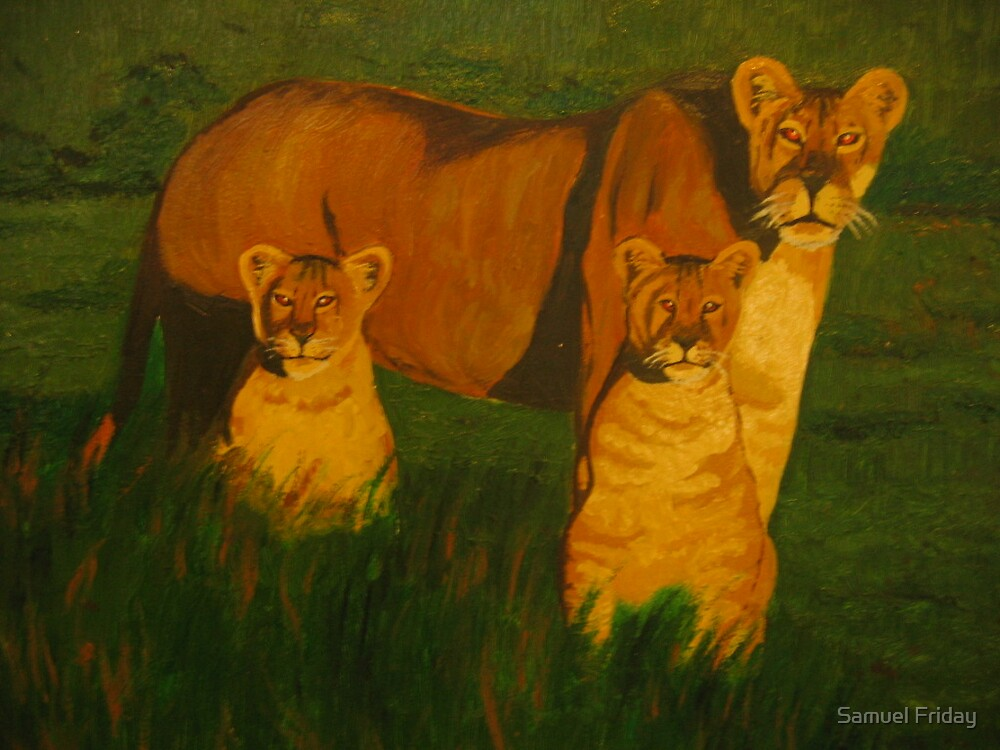 lioness and cubs by Samuel Friday