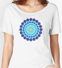 Circular Blue Pattern Women's Relaxed Fit T-Shirt