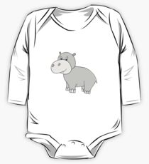Vector illustration of hippo. Isolated cartoon animal One Piece - Long Sleeve