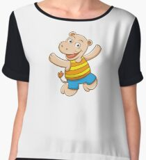 Cute Funny Cartoon Silly Jumping Happy Smiling Hippo Character Doodle Animal Drawing Women's Chiffon Top