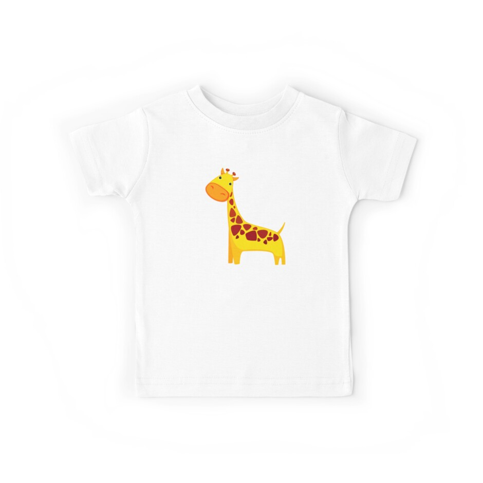 Funny Cartoon Yellow Cute Giraffe Character Doodle Animal Drawing by Sago-Design