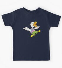 Cute Funny Cartoon Silly Happy Teen Duck Jumping Character Doodle Animal Drawing Kids Tee