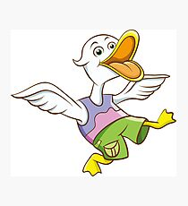 Cute Funny Cartoon Silly Happy Teen Duck Jumping Character Doodle Animal Drawing Photographic Print