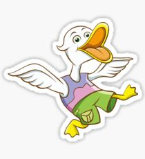 Cute Funny Cartoon Silly Happy Teen Duck Jumping Character Doodle Animal Drawing Sticker
