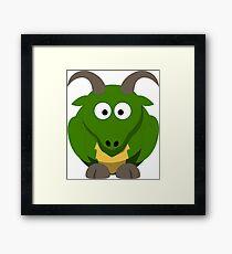 Cute Funny Cartoon Green Dragon Character Doodle Animal Drawing Framed Print