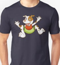 Cute Funny Cartoon Silly Jumping Dog Character Doodle Animal Drawing Unisex T-Shirt