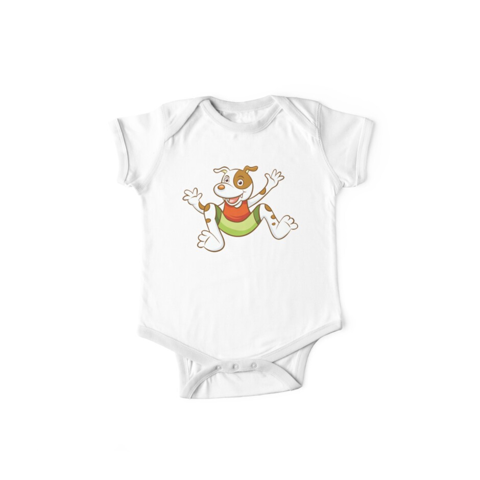 Cute Funny Cartoon Silly Jumping Dog Character Doodle Animal Drawing by Sago-Design