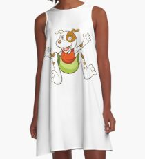 Cute Funny Cartoon Silly Jumping Dog Character Doodle Animal Drawing A-Line Dress