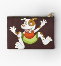 Cute Funny Cartoon Silly Jumping Dog Character Doodle Animal Drawing Studio Pouch