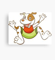 Cute Funny Cartoon Silly Jumping Dog Character Doodle Animal Drawing Metal Print